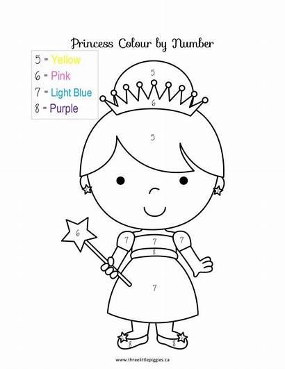 Coloring Princess Number Preschool Pages Kindergarten Numbers