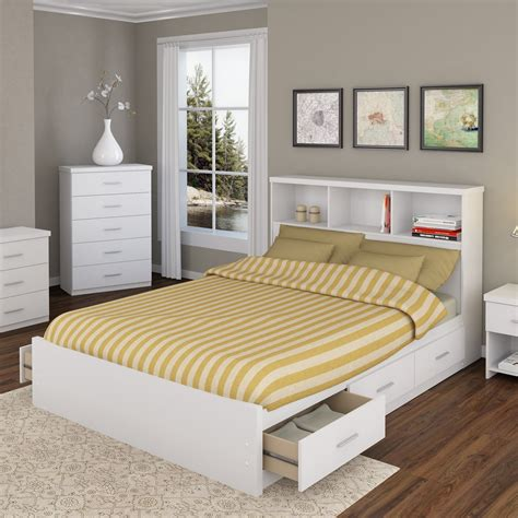 Queen Bed With Shelf Headboard Great Queen Size Captains