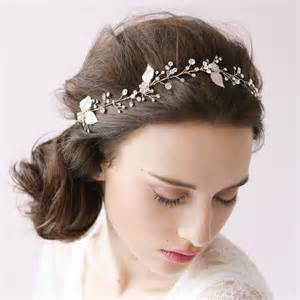jewelled headdress silver leaf wedding hair accessories wa o012 forbridals