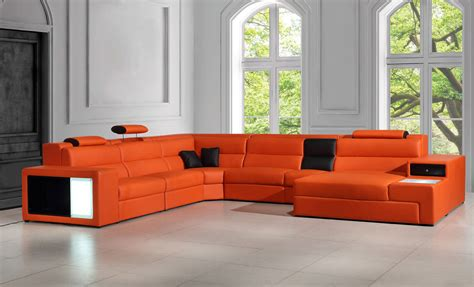 polaris italian leather sectional sofa polaris orange italian leather sectional sofa
