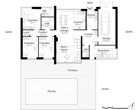 maison 3 chambres plain pied plan maison contemporaine de plain pied avec 3 chambres