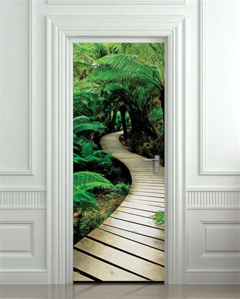 door sticker palm tree path mural decole film