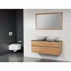 saniclass natural wood meuble salle de bain avec miroir With meuble avec 2 vasques