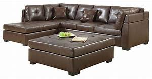 Coaster darie leather sectional sofa brown transitional for Coaster transitional styled sectional sofa sleeper in brown