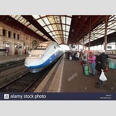 A French Sncf Train Entering Strasbourg Railway Station ( Gare De Stock Photo, Royalty Free
