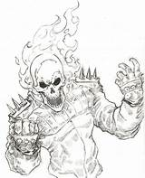 Coloring Ghost Rider Pages Popular sketch template
