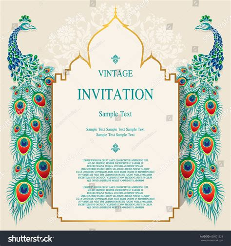 Wedding Invitation card templates with peacock patterned