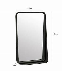 miroir rectangulaire noir en zinc et verre hauteur 51cm With miroir rectangulaire noir