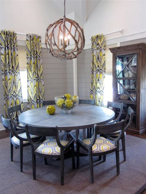 gray transitional dining room with driftwood chandelier hgtv