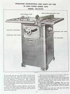Craftsman 10 U0026quot  Table Saw 103 27270 Operator  U0026 Parts Manual