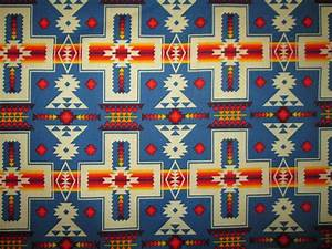 Navajo Cross Blue Orange Native American Print Cotton ...