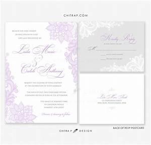 purple wedding invitations with rsvp cards printed lace With lavender wedding invitations etsy