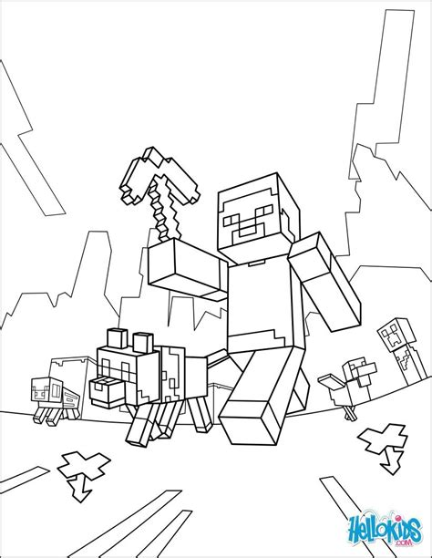 minecraft coloring page   walk presently