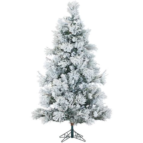 sterling nine foot flocked led trees 9 ft pre lit trees artificial trees the home depot