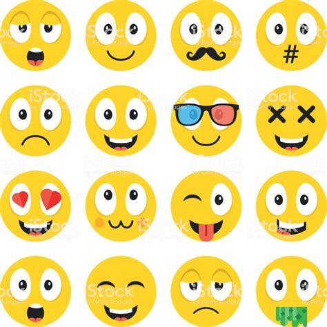 emoji set funny cartoon emoticons cute smiley faces