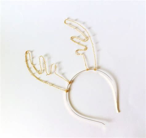 gold crystal reindeer antler headband rudolf antlers with