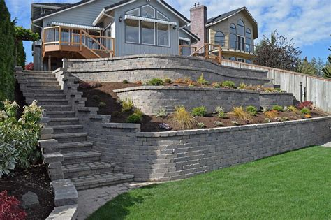 tiered retaining wall on lake near yelm