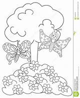 Coloring Garden Flower Pages Template Dreamstime Flowerbed Butterflies Templates sketch template