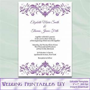 diy printable wedding invitation templates orchid purple With wedding invitation template html5