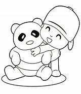 Coloring Panda Bear Pages Printable Pocoyo Sheet Colouring Characters Cartoon Doll Boy Kung Fu Friend Bears Hugging Christmas Outline sketch template
