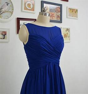 short royal blue bridesmaid dresses a line chiffon With royal blue short wedding dresses