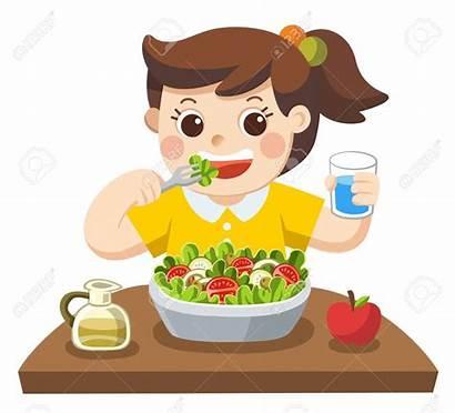 Vegetables Salad Eat She Happy Eating Clip