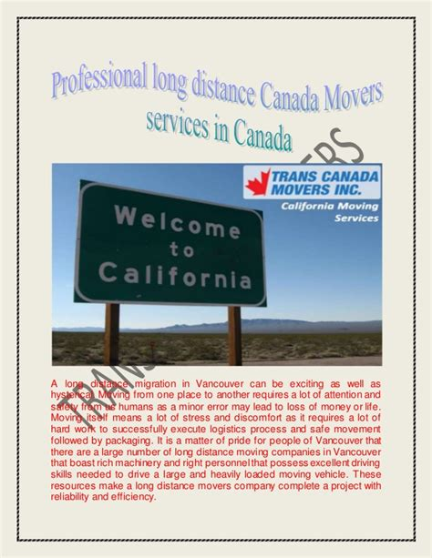 moving choose   long distance canada movers