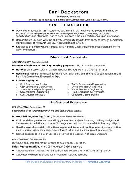 Sample Resume For An Entrylevel Civil Engineer Monstercom