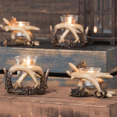 antler votive candle holders set