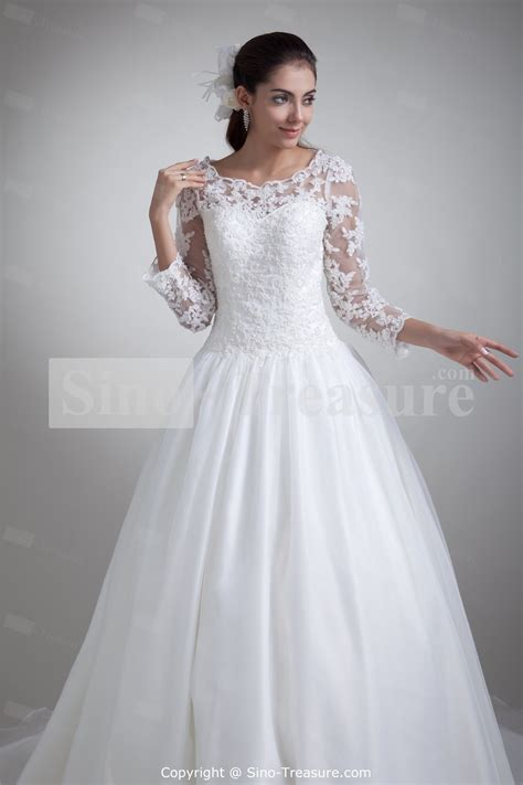 Lace Ball Gown Wedding Dresses with Sleeves