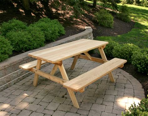 Lawn Chairs Made In Usa by Red Cedar Picnic Table W Attached Benches