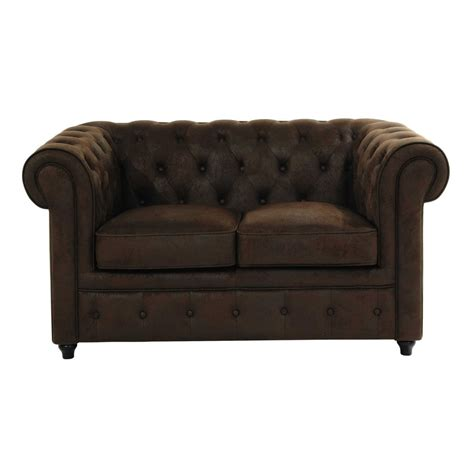canap 233 capitonn 233 2 places marron chesterfield maisons du