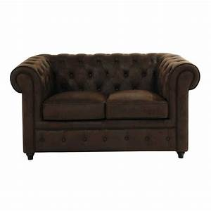 Canape capitonne 2 places marron chesterfield maisons du for Canapé chesterfield 2 places maison du monde