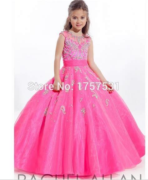 dress anak flower s prom pink beading pageant dress