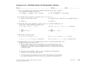 arithmetic series geometric series partial sums of geometric series 11th 12th grade