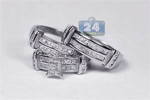 14k white gold 134 ct diamond mens womens wedding rings set With white gold womens wedding rings