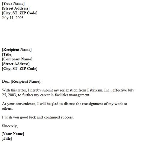 general resignation letter template sample