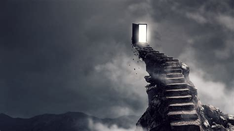 wallpaper stairs surrealism dark  art