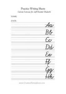 Left-Handed Cursive Writing Worksheets