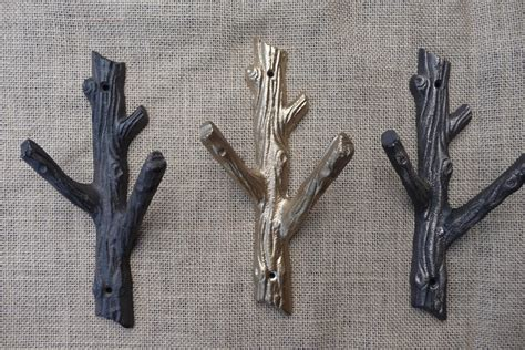 rustic tree branch wall hook cast iron metal or gold coat