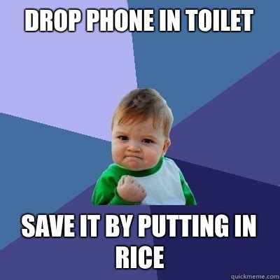 Drop Phone Meme - drop phone in toilet save it by putting in rice success kid quickmeme