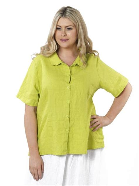 lime green blouse plus size blouse in lime green linen by flax vida moda
