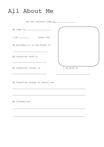 About Me Template All About Me Template By Laurenstuart Teaching