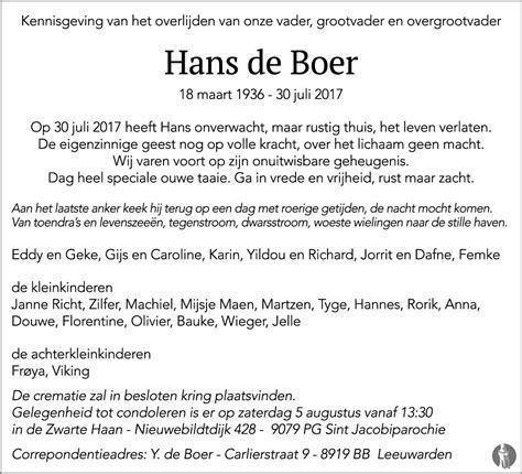 Comité koninkrijksrelaties — 18 januari 2021. Hans de Boer 30-07-2017 overlijdensbericht en condoleances ...
