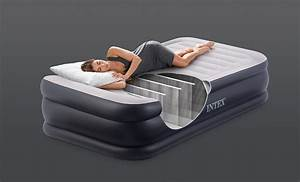 intex twin deluxe pillow rest fiber tech raised air bed With bed tech comfort rest pillow