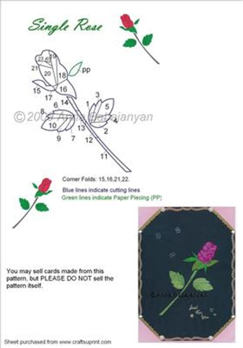 single rose iris folding pattern cup craftsuprint
