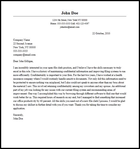 professional file clerk cover letter sle writing