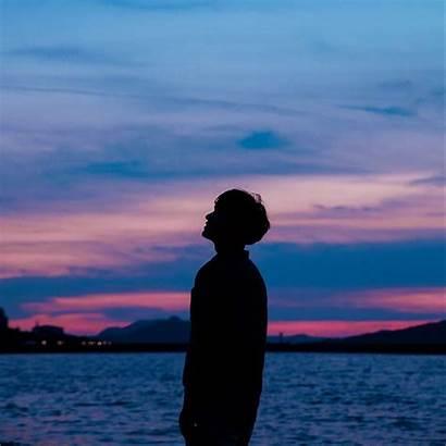 Boy Sunset Silhouette Sky Sea Background Ipad