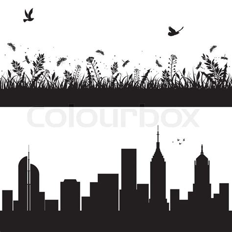 silhouettes urban background  skyscrapers  nature