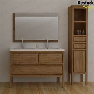 meuble salle de bain bois double vasque carrelage salle With meuble de salle de bain design double vasque